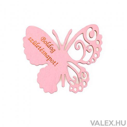"""4db. """"Boldog Születésnapot!"""" feliratos festett fa pillangó 7 x 6cm - Rózsaszín"""