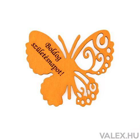 """4db. """"Boldog Születésnapot!"""" feliratos festett fa pillangó 7 x 6cm - Narancssárga"""