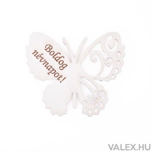 """4db. """"Boldog Névnapot!"""" feliratos festett fa pillangó 7 x 6cm - Fehér"""