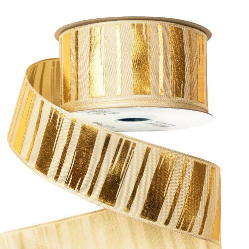 Prémium szatén szalag fényes arany mintával, drótos szegéllyel 38mm x 6.4m - Krém