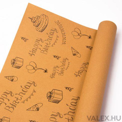 Natúr kraft papír 61cm x 43cm - Happy Birthday (20db.)