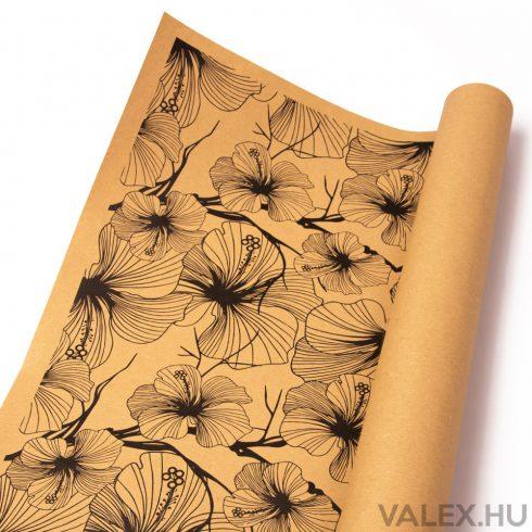 Natúr kraft papír 61cm x 43cm - Virágos (20db.)