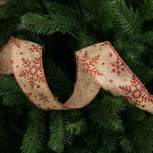 Karácsonyi juta  szalag drótos szegéllyel 50mm x 9.1m - Natúr-Piros