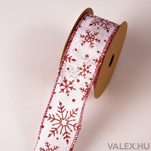 Karácsonyi juta  szalag drótos szegéllyel 50mm x 9.1m - Fehér-Piros