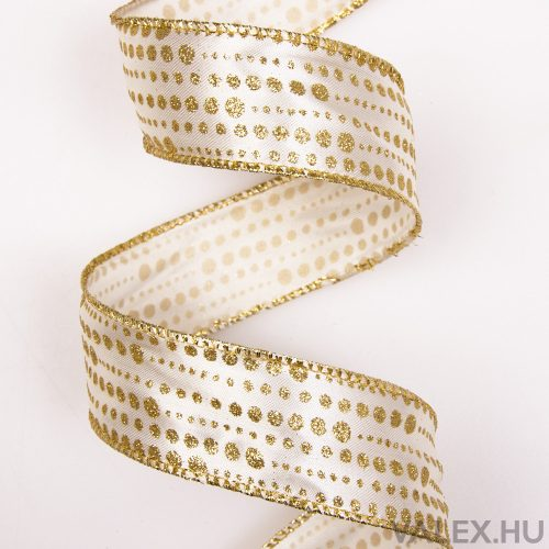 Arany glitteres szatén szalag drótos szegéllyel 38mm x 9.1m - Krém