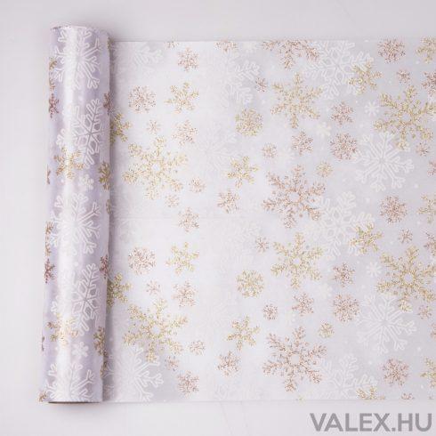 Karácsonyi hópihés szatén asztali futó 28cm x 5m