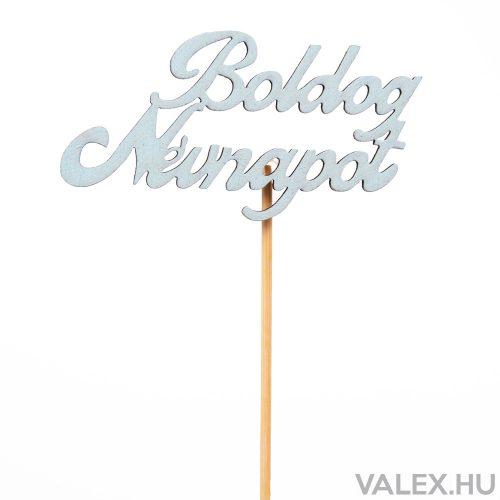 """""""Boldog névnapot""""  feliratos betűző 10 x 33cm - Babakék"""