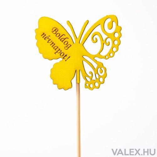 """Pillangós, """"Boldog névnapot"""" feliratos betűző 7 x 33cm - Citromsárga"""