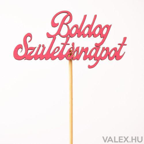 """""""Boldog születésnapot"""" feliratos betűző 10 x 33cm - Ciklámen"""