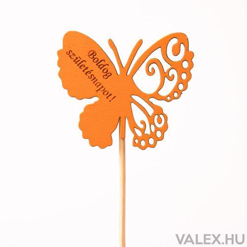 """Pillangós, """"Boldog születésnapot"""" feliratos betűző 10 x 33cm - Narancssárga"""