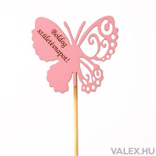 """Pillangós, """"Boldog születésnapot"""" feliratos betűző 10 x 33cm - Rózsaszín"""