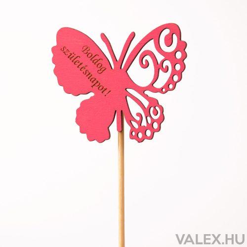 """Pillangós, """"Boldog születésnapot"""" feliratos betűző 10 x 33cm - Ciklámen"""