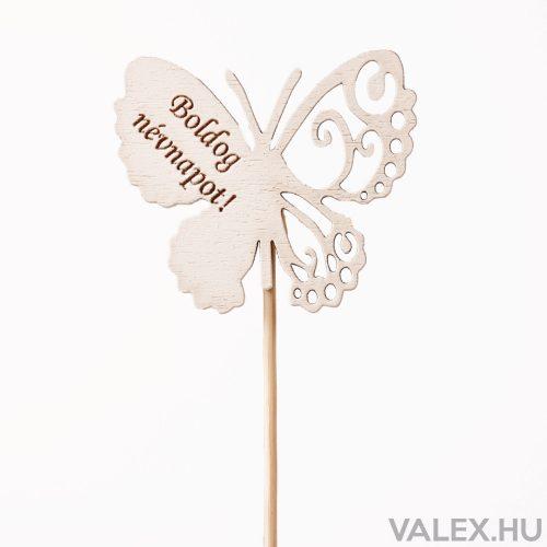 """Pillangós, """"Boldog névnapot"""" feliratos betűző 7 x 33cm - Fehér"""