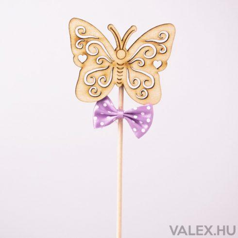 Pálcás dekor 5.5 x 27cm - Pillangós - lila masnis