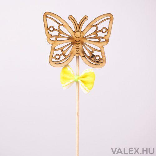 Pálcás dekor 5.5 x 27cm - Pillangós - sárga