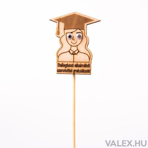 Pálcás dekor 5.5 x 27cm - Ballagó Lány - Ballagásod alkalmából szeretettel gratulálunk!