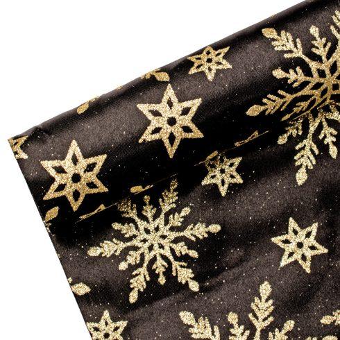 Karácsonyi szatén tekercs 36cm x 5m - Fekete