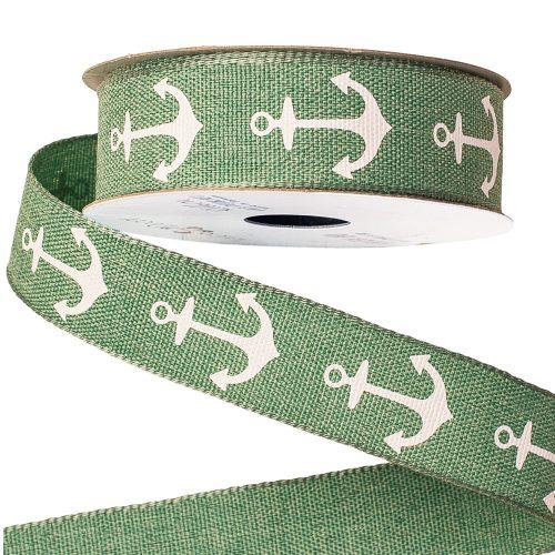 Horgonyos vászon szalag 23mm x 6.4mm - Zöld