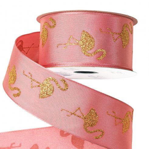 Flamingós szatén szalag drótos szegéllyel 38mm x 6.4m - Rózsaszín arany glitterrel