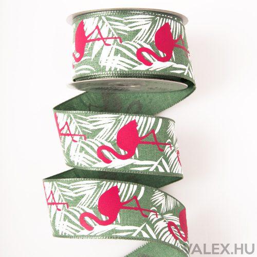 Flamingós vászon szalag drótos szegéllyel 38mm x 6.4m - Zöld