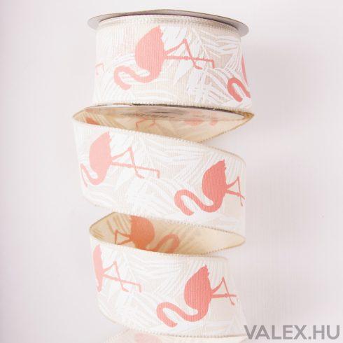 Flamingós vászon szalag drótos szegéllyel 38mm x 6.4m - Ekrü