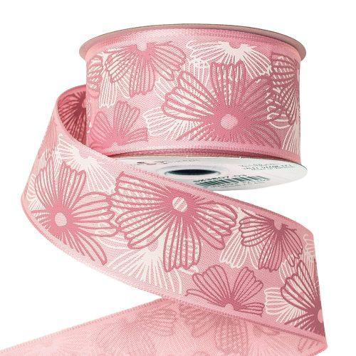 Virágmintás prémium textil szalag drótos szegéllyel 38mm x 6.4m - Rózsaszín