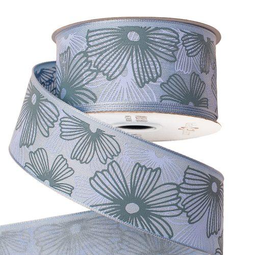 Virágmintás prémium textil szalag drótos szegéllyel 38mm x 6.4m - Kék