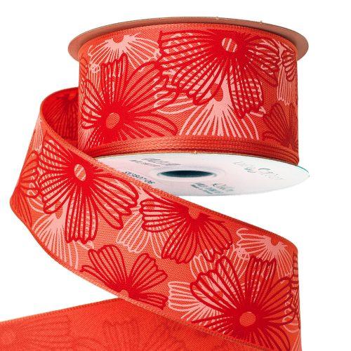 Virágmintás prémium textil szalag drótos szegéllyel 38mm x 6.4m - Lazac
