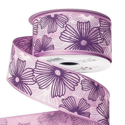 Virágmintás prémium textil szalag drótos szegéllyel 38mm x 6.4m - Lila