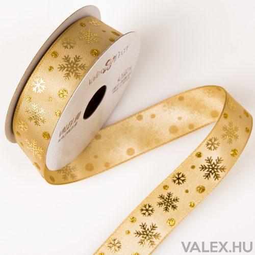 Hópelyhes karácsonyi textil szalag 23mm x 6.4m - Arany