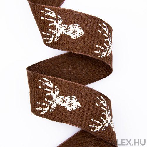 Szarvas mintás karácsonyi textil szalag 38mm x 6.4m - Barna