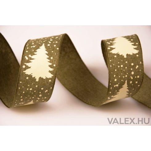 Fenyőfa mintás karácsonyi textil szalag 38mm x 6.4m - Zöld