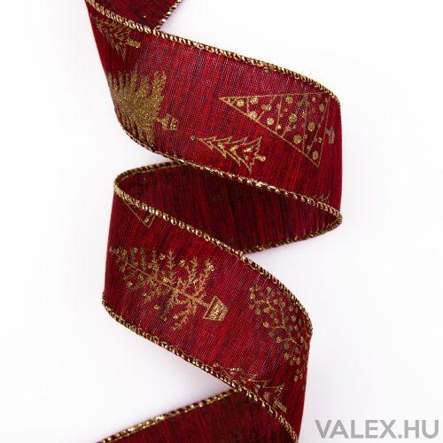 Karácsonyi textil szalag 38mm x 6.4m - Bordó