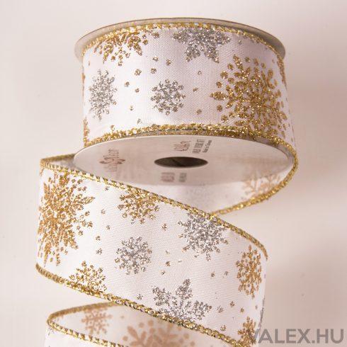Hópelyhes karácsonyi textil szalag 38mm x 6.4m - Fehér