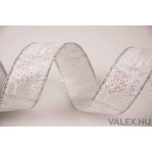 Karácsonyi textil szalag 38mm x 6.4m - Fehér