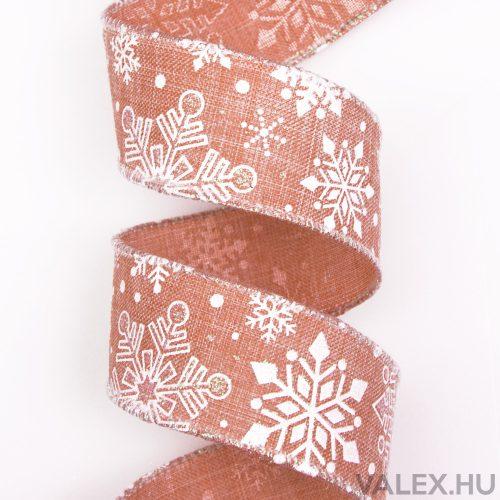 Hópihés karácsonyi szalag drótos szegéllyel 38mm x 6.4m - Barack