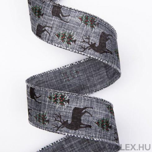 Szarvas mintás karácsonyi szalag drótos szegéllyel 38mm x 6.4m - Sötét szürke