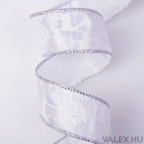 Téli táj mintás fehér szatén szalag drótos szegéllyel 38mm x 6.4m
