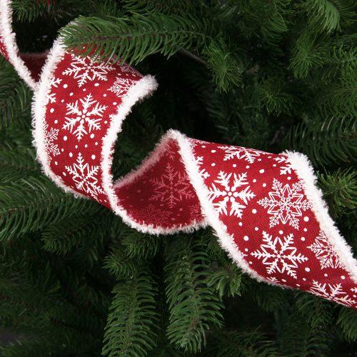 Bolyhos szélű hópelyhes szalag drótos szegéllyel 64mm x 6.4m - Piros