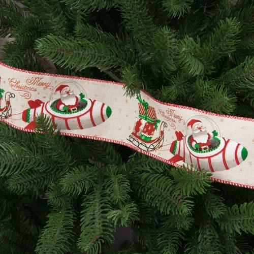 Űrhajós mikulás mintás karácsonyi szalag drótos szegéllyel 64mm x 6.4m