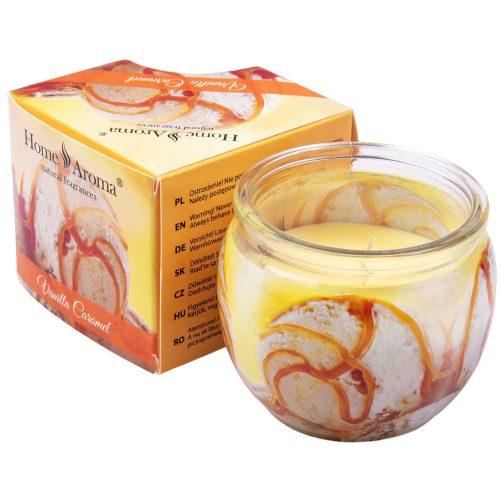 Vanília-karamell illatgyertya, poharas illatmécses