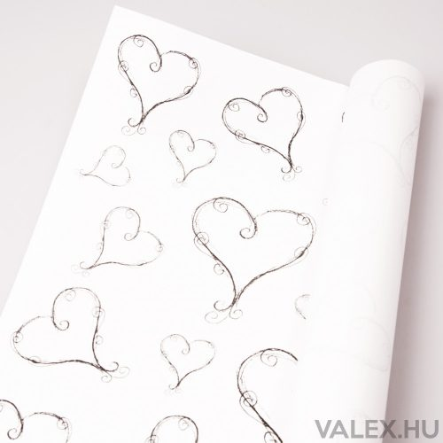 Fehér kraft papír 61cm x 43cm - Szivecskés (20db.)