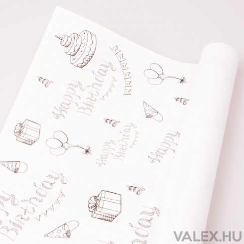 Fehér kraft papír 61cm x 43cm - Happy Birthday (20db.)