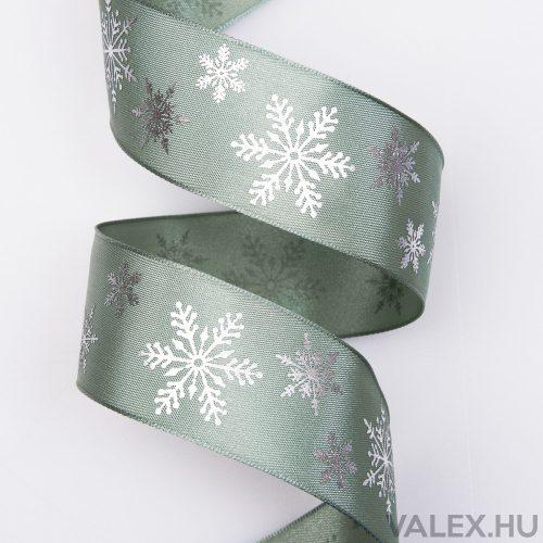 Prémium karácsonyi szatén szalag drótos szegéllyel, fényes hópihékkel 38mm x 6.4m - Zöld
