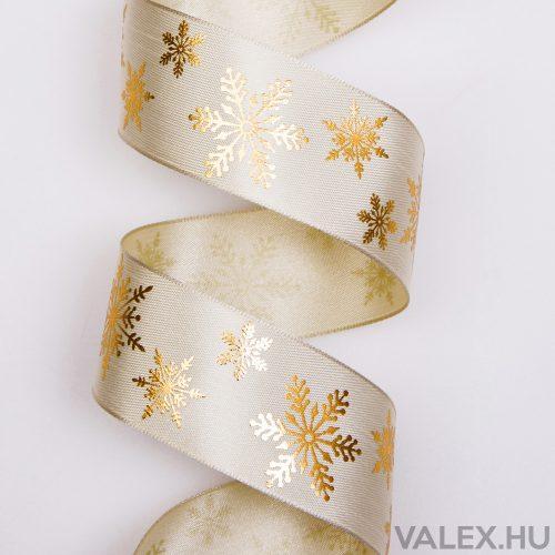 Prémium karácsonyi szatén szalag drótos szegéllyel, fényes hópihékkel 38mm x 6.4m - Krém
