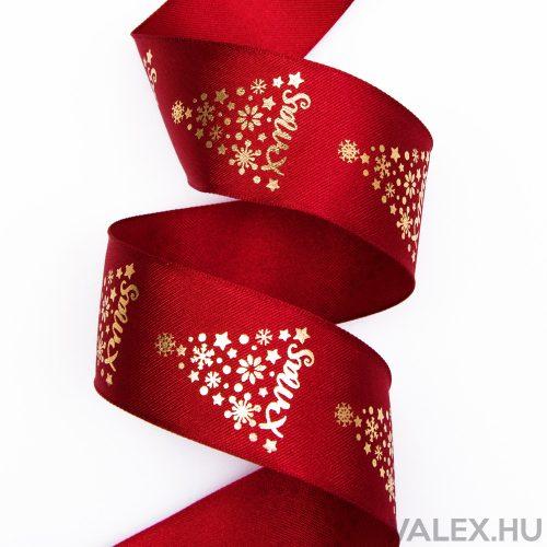 Prémium karácsonyi szatén szalag drótos szegéllyel, fényes mintával 38mm x 6.4m - Bordó