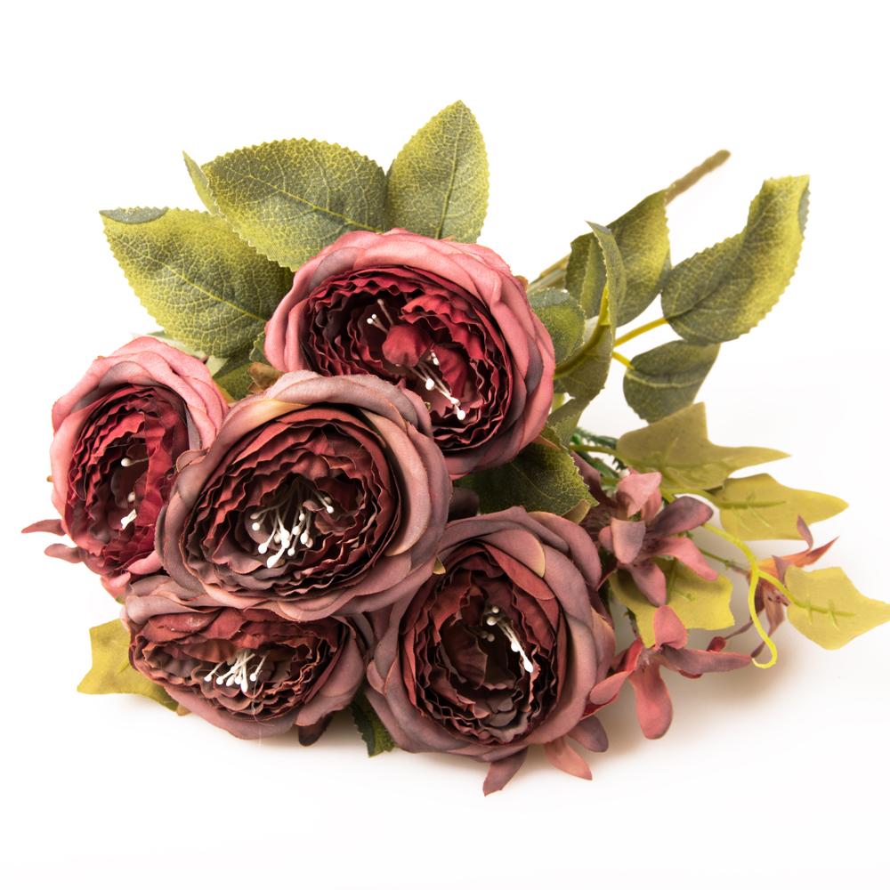 Pompás peónia selyemvirág csokor a képen